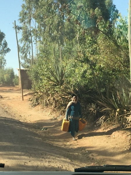 Woman seen walking along the road, carrying a Jerry can to collect water in.