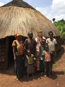 Sarah visits her sponsor child's hut and meets the family