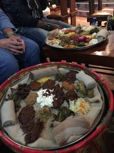 Traditional Ethiopian meal